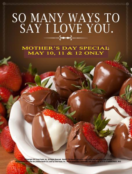 Treat all special Mom's to Chocolate Covered Strawberries for Mother's Day.  Only May 10, 11 & 12.   Available at NESTLE TOLL HOUSE CAFE - STOCKYARDS or preorder by calling 817.740.8883.  Happy Mother's Day cookie cakes also can be ordered with custom designs.  Sweets for Mom!!
